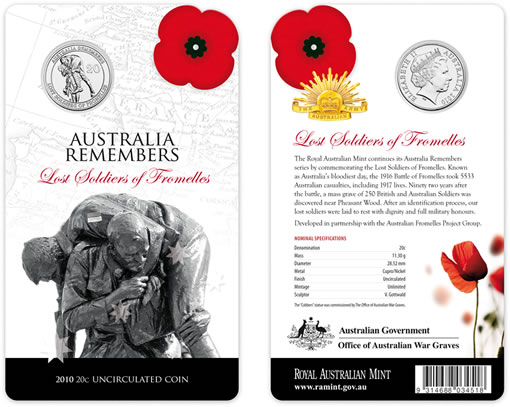 Lost Soldiers of Fromelles Australian Coin Packaging