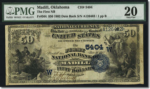 Madill, OK - $50 1882 Date Back Fr. 564