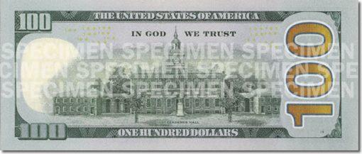 New $100 Bill (Back)