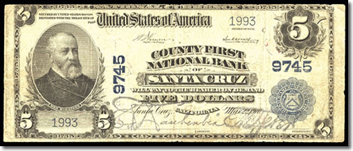 1902 $5 Santa Cruz Note Obverse