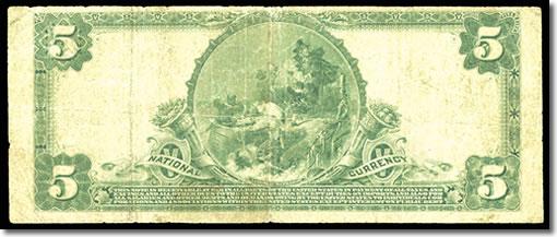 1902 $5 Santa Cruz Note Reverse