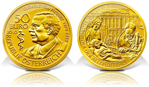 Austria 2010 50€ Clemens von Pirquet Gold Proof Coin