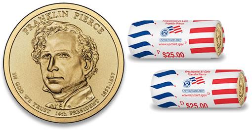 2010 President Franklin Pierce Dollars-Bank Roll Uncirculated. 25 Coins Roll