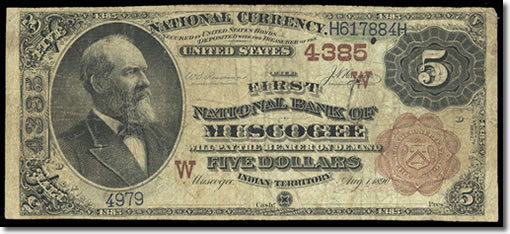 Muscogee Territorial $5 Note Obverse