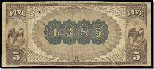 Muscogee Territorial $5 Note Reverse