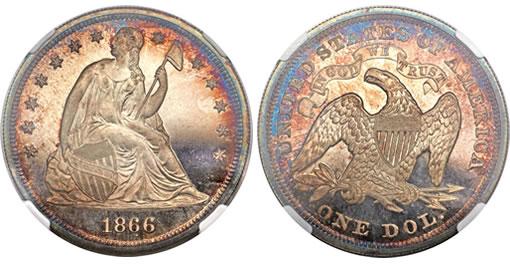 1866 $1 Motto PR67 Cameo NGC Rare Coin