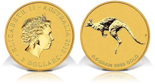2010 Australia Mini Roo 0.5 Gram Gold Coin