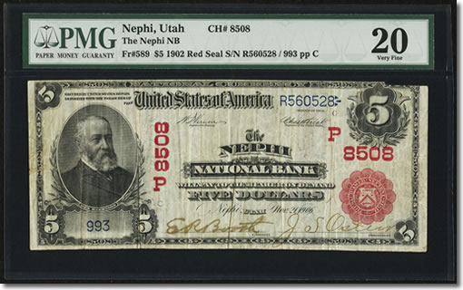 $5 1902 Red Seal Fr. 589 The Nephi NB