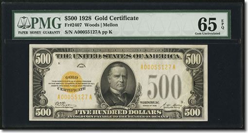 Fr. 2407 $500 1928 Gold Certificate