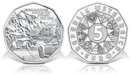 Austria 2010 5€ Grossglockner Alpine Road Commemorative Coin