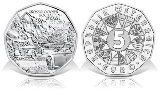 Austria 2010 5€ Grossglockner Alpine Road Commemorative Coin