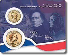 Franklin and Jane Pierce Presidential $1 Coin & First Spouse Metal Set