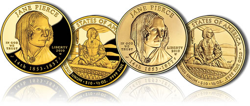 Jane Pierce First Spouse Gold Coins