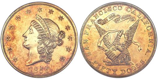 1855 Kellogg & Co. Fifty Dollar gold coin