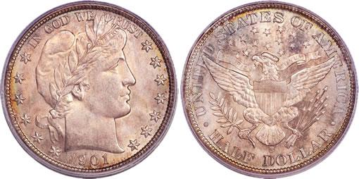 1901-S Barber half dollar