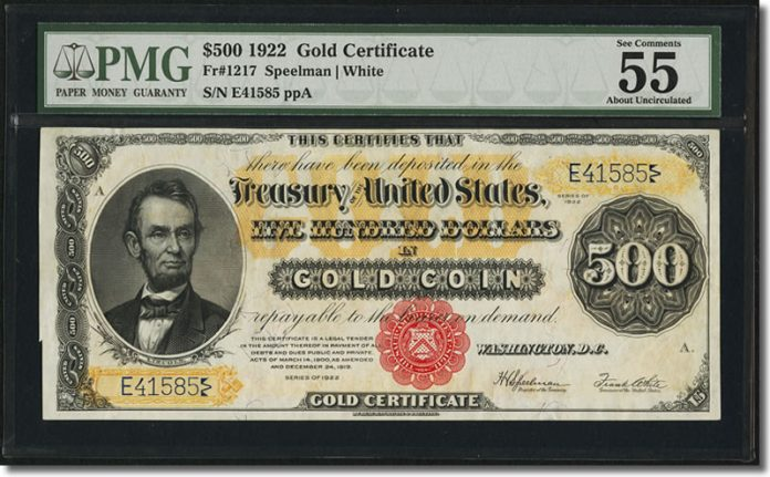 1922 $500 Gold Certificate Banknote