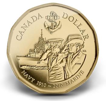 2010 Canadian Navy Centennial $1 Circulation Coin