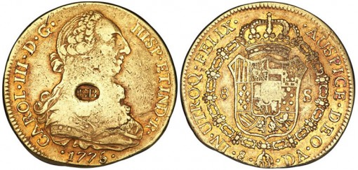 Carlos III 1775 Chile 8 Escudos or Doubloon