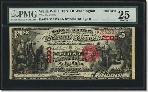 Walla Walla, Washington Territory - $5 1875 Fr. 403 The First NB