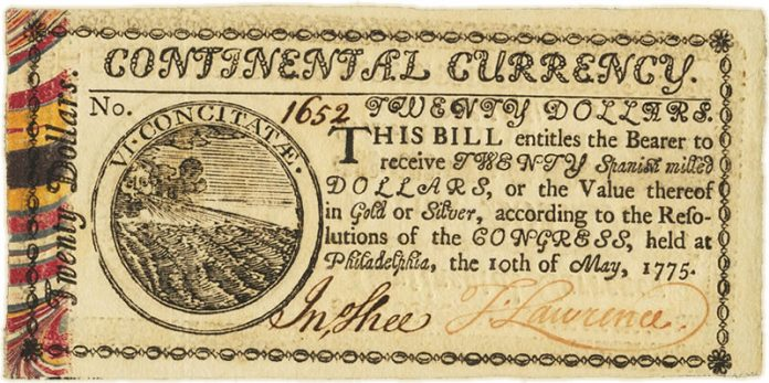 1775 $20 Continental Currency Bill