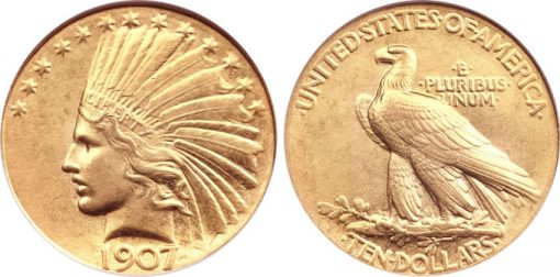 1907 $10 Wire Rim Gold Coin
