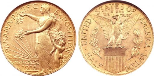 1915 P50C Panama-Pacific Half Dollar in Gold