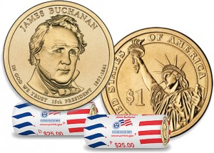 James Buchanan Presidential Dollar and Rolls