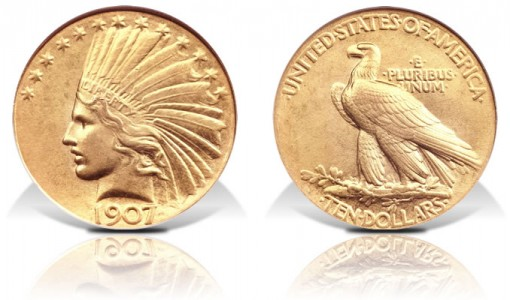 Plain Edge 1907 $10 coin
