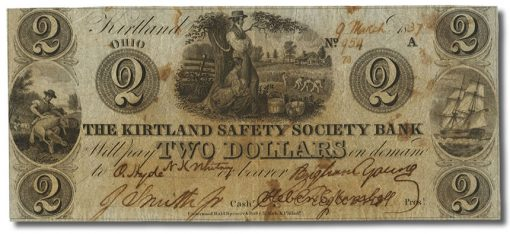 The Kirtland Safety Society Bank $2 March 9, 1837