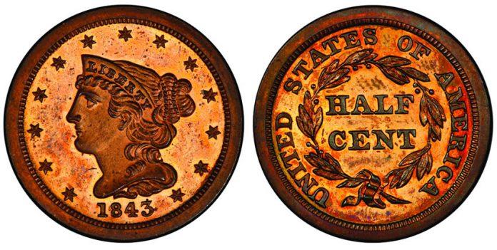 1843 Half Cent PCGS PR64 Cameo