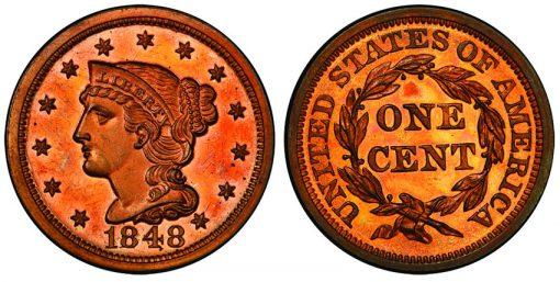 1848 Large Cent PCGS PR65 Cameo