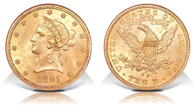 1891-CC $10 gold coin