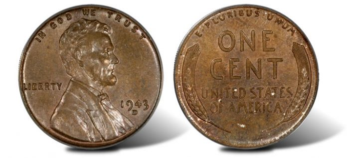 1943-dated Lincoln cent on Bronze Planchet