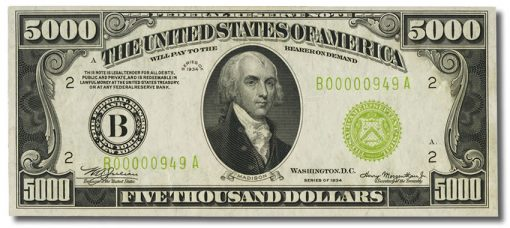 $5,000 1934 Federal Reserve Note