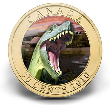 Albertosaurus Dinosaur 50 Cent Canadian Coin