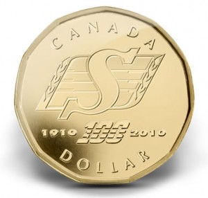 Saskatchewan Roughriders Centennial Canadian Dollar Coin