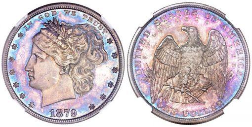 1879 Washlady dollar struck in silver