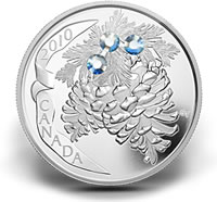 2010 $20 Moonlight Pine Cone Silver Coin