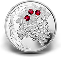 2010 $20 Ruby Pine Cone Silver Coin