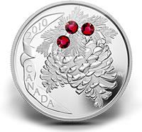 2010 $20 Ruby Pine Cone Silver Coin