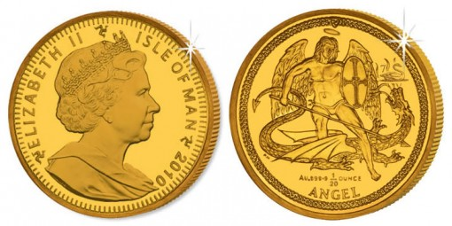 2010 Isle of Man Christmas Angel Gold Coin