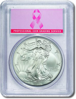 2010 Silver Eagle Pink Ribbon Label