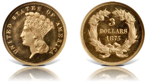 1875 Three-Dollar Gold Piece