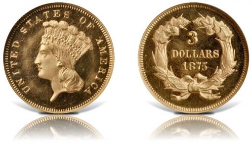 1875 Three-Dollar Gold Piece
