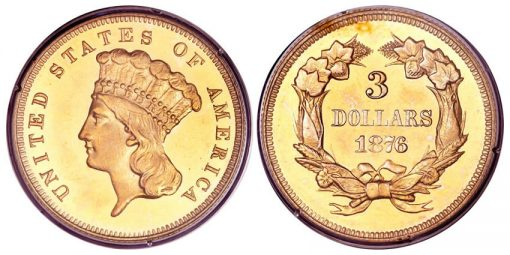 1876 three dollar gold piece