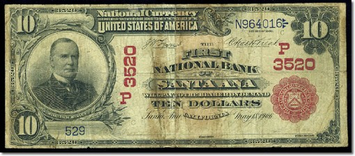 1902 $10 red seal First NB Santa Ana
