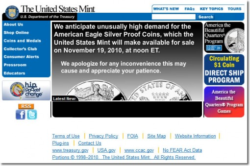2010 Proof Silver Eagle Demand Warning