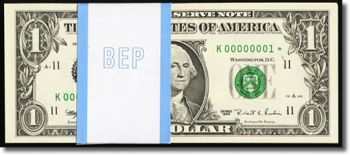 $1 1995 Federal Reserve Notes