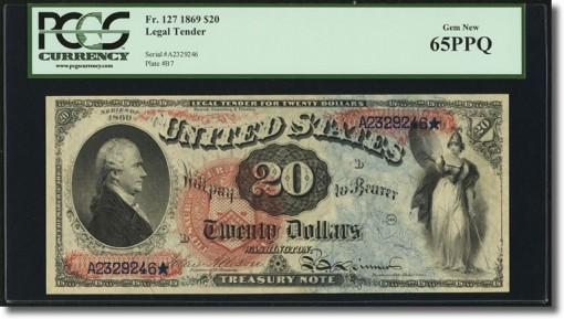 $20 1869 Legal Tender PCGS Gem New 65PPQ