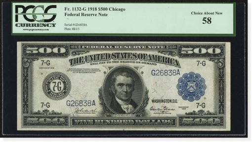 $500 1918 Federal Reserve Note